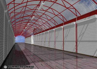 Проект торговых роллетных киосков под навесом